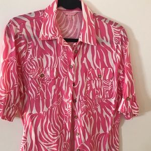 3/4 sleeve cotton pink & white zebra print